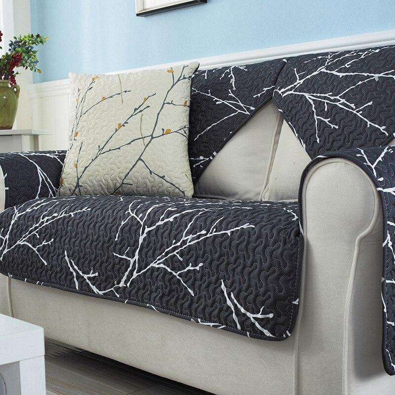 2017 New Simple Modern Anti Slip Sofa Cover Black Branch