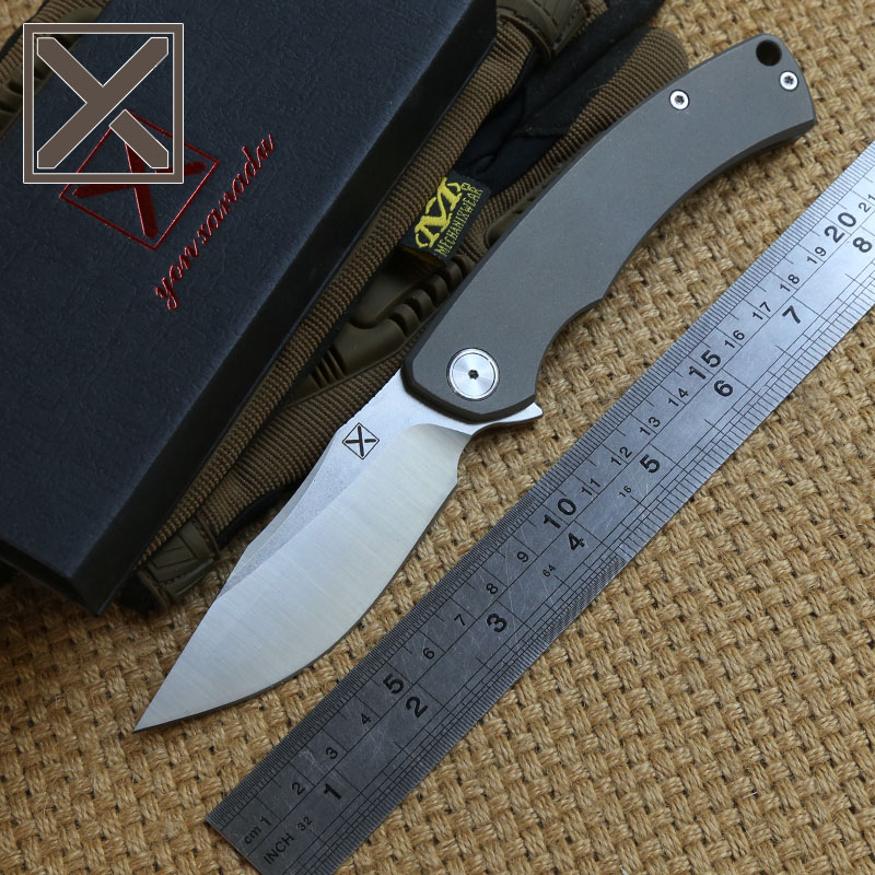 Фотография DICORIA YX650 Flipper Folding Knife Titanium Handle D2 Blade ball bearing camping Hunt Camping Outdoor Survival knives EDC Tools