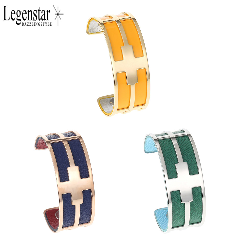 Legenstar Fashion Bracelets&Bangles Cross Stainless Steel Jewelry Cuff  Bangle With Replaceable Leather Arm Pulseiras For Women