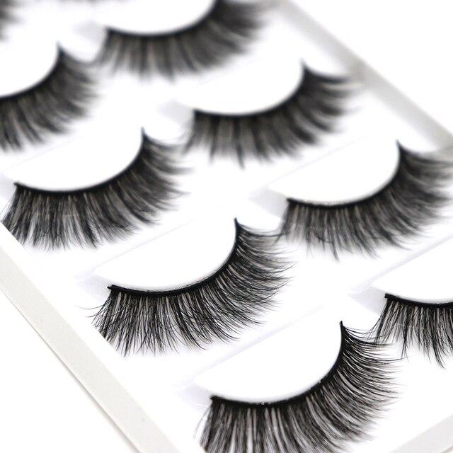 31cdf18e225 5 pairs 100% Real Fake Mink Eyelashes 3D Natural False Eyelashes 3d Mink  Lashes Soft Eyelash Extension Makeup Kit Cilios G806