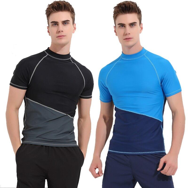 SBART Men Rashguard Short Sleeve Wetsuit Shirt Mens Quick-dry Surfing Swimwear Tops Anti-UV Windsurf Swim Rash Guard T-shirt J denim