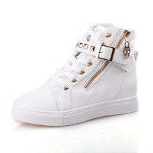 2019 spring explosions cake rivet high canvas shoes female Korean flat casual womens boots