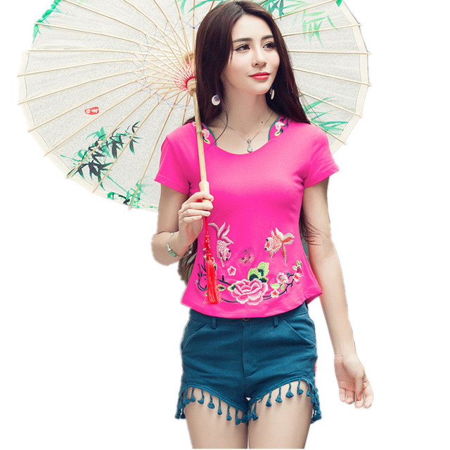 2017 Brand 5XL T-Shirts Quality Cotton Summer T Shirt Women Vintage Embroidery Flower Blusas Slim Body Tops Tee Woman Clothing