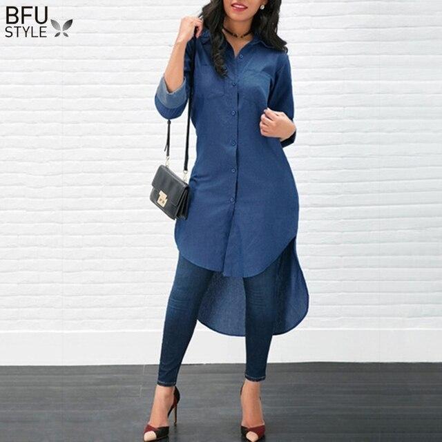 Джинсовые рубашки для женщин АСИММЕТРИЧНЫМ ПОДОЛОМ длинная рубашка демисезонный с длинным рукавом Топы корректирующие