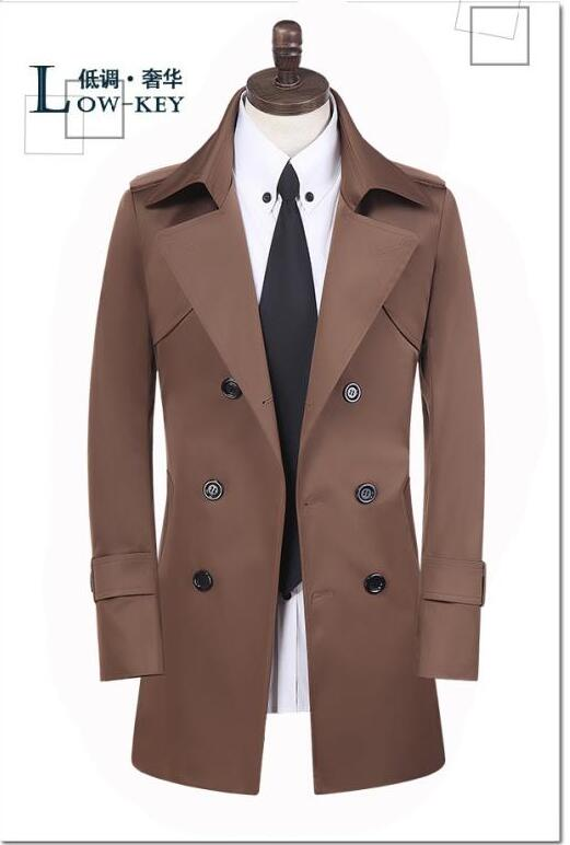 Brown england spring double breasted trench coat men slim fit medium-long clothes man mens overcoat veste homme big size S- 9XL