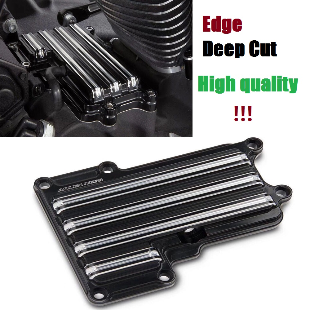 Motorcycle Transmission Top Cover CNC Edge Deep Cut Black For Harley Dyna 2006-16 FLT Touring 2007-16 Softail 2007-2016 high quality cnc motorcycle deep cut driver floorboards for harley davidson softail dyna touring chrome