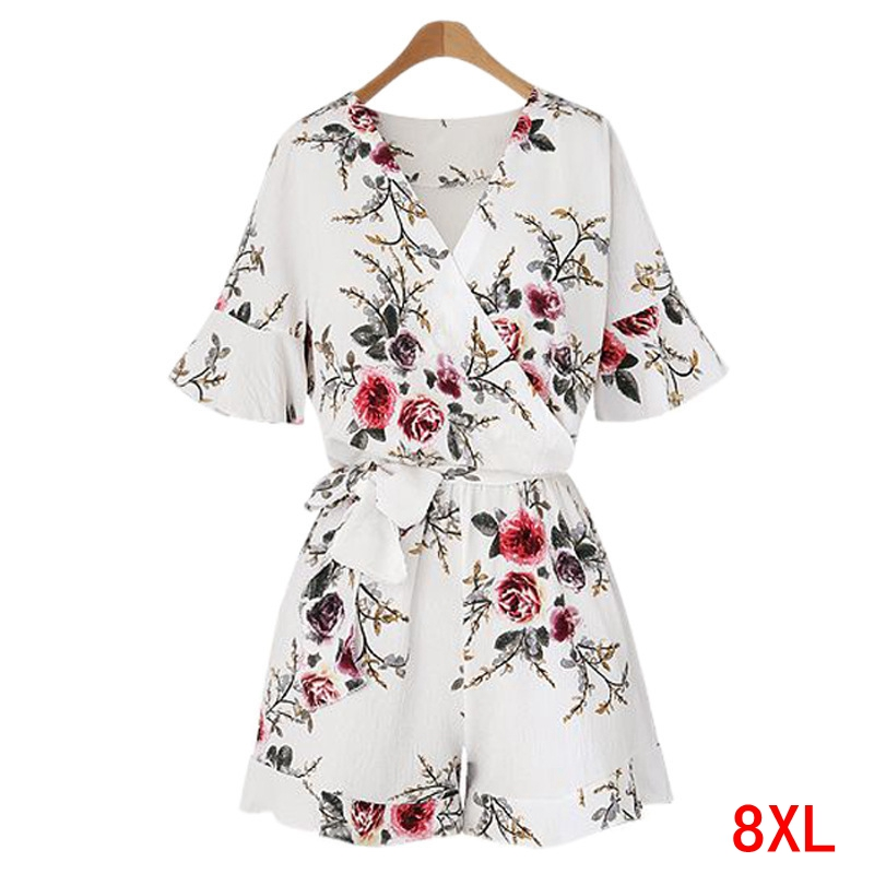 Large size women's   jumpsuit   plus size 5XL 6XL 7XL 8XL summer V-neck short-sleeved casual loose beach white chiffon   jumpsuit