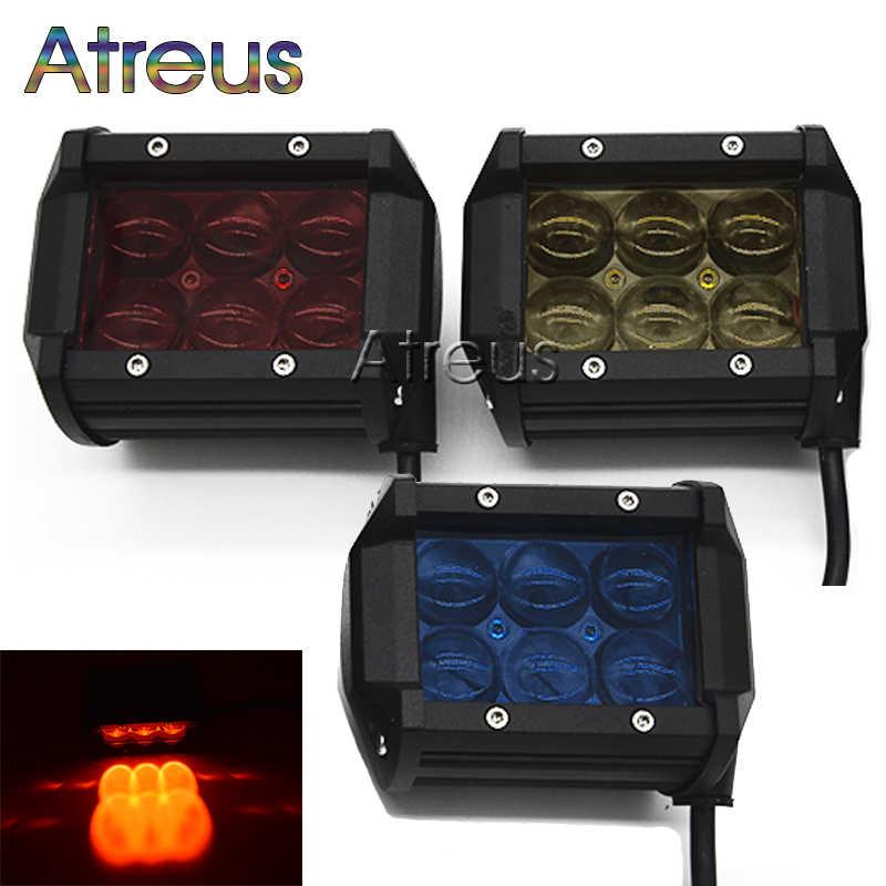 18 W Mobil LED Kerja Ringan Bar 12 V Spot Merah Kuning Biru 4D Lens DRL Untuk ATV 4X4 Truk Trailer Motor Offroad Mengemudi Lampu Kabut