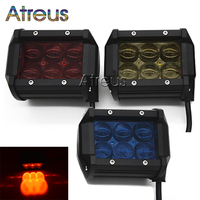 18W Car LED Work Light Bar 12V Spot Red Yellow Blue 4D Lens DRL For ATV 4X4 Truck Offroad Trailer Motorcycle Driving Fog Lights