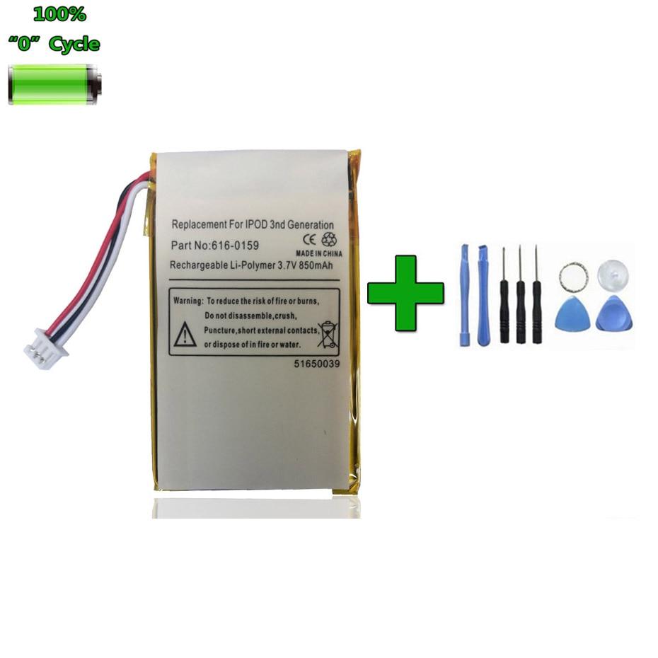 Remplacement Original 850 mAh 616-0159 Batterie pour Apple iPod 3 3G Gen 3rd génération A1040 accumulateur Batterie AKKU + outils cadeau
