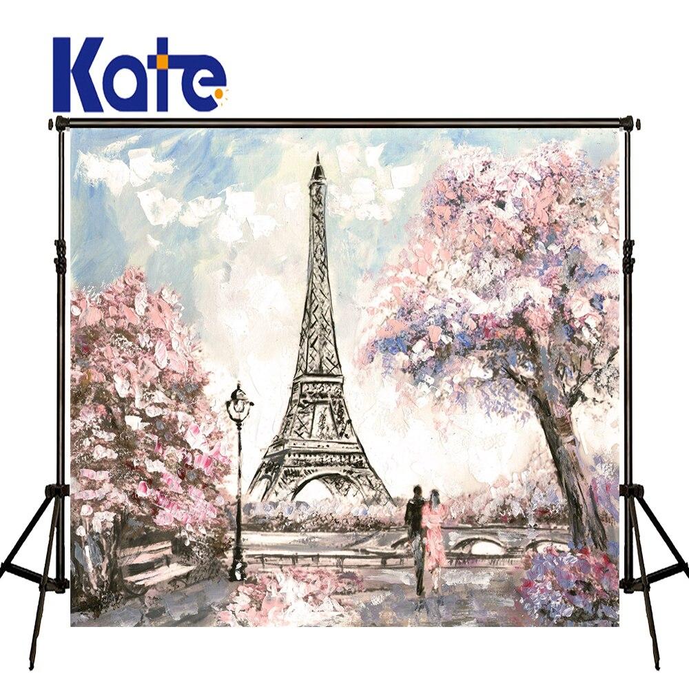 Kate Tour Eiffel Toile de Fond Printemps Cerise Fleurs Photographie Décors Nouveau-Né Photographie Fond Grande Taille Sans Soudure Photo