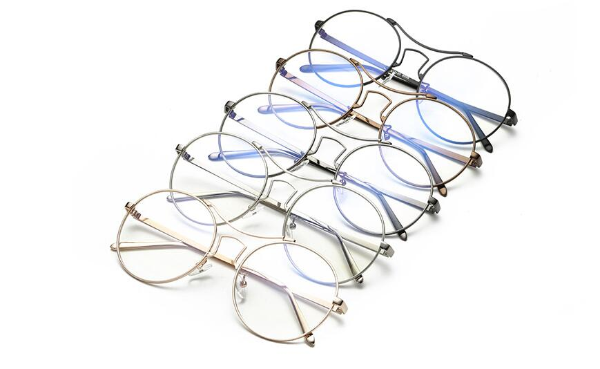 New anti blue glasses large round frame retro flat mirror
