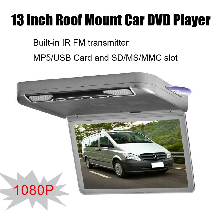 13 inch Roof Mount Car DVD Player Built-in IR FM transmitter MP5/USB Card and SD/MS/MMC slot