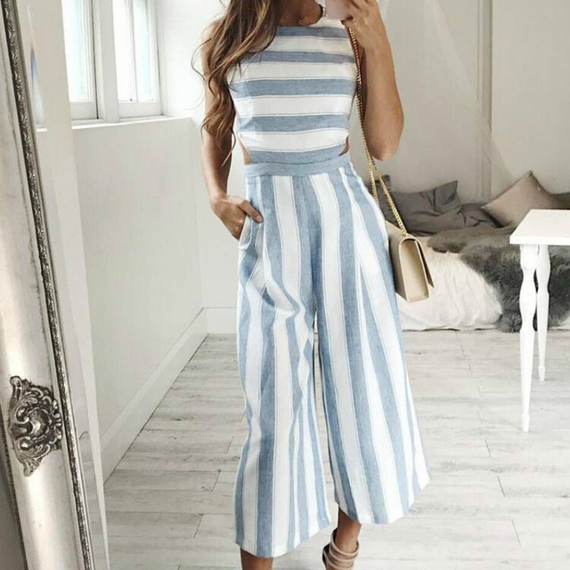 081d694867d Boho Beach Wide Leg Pants Rompers Women s Sleeveless Striped Jumpsuits  Casual Jumpsuit Pockets Female Plus Size Overalls GV363