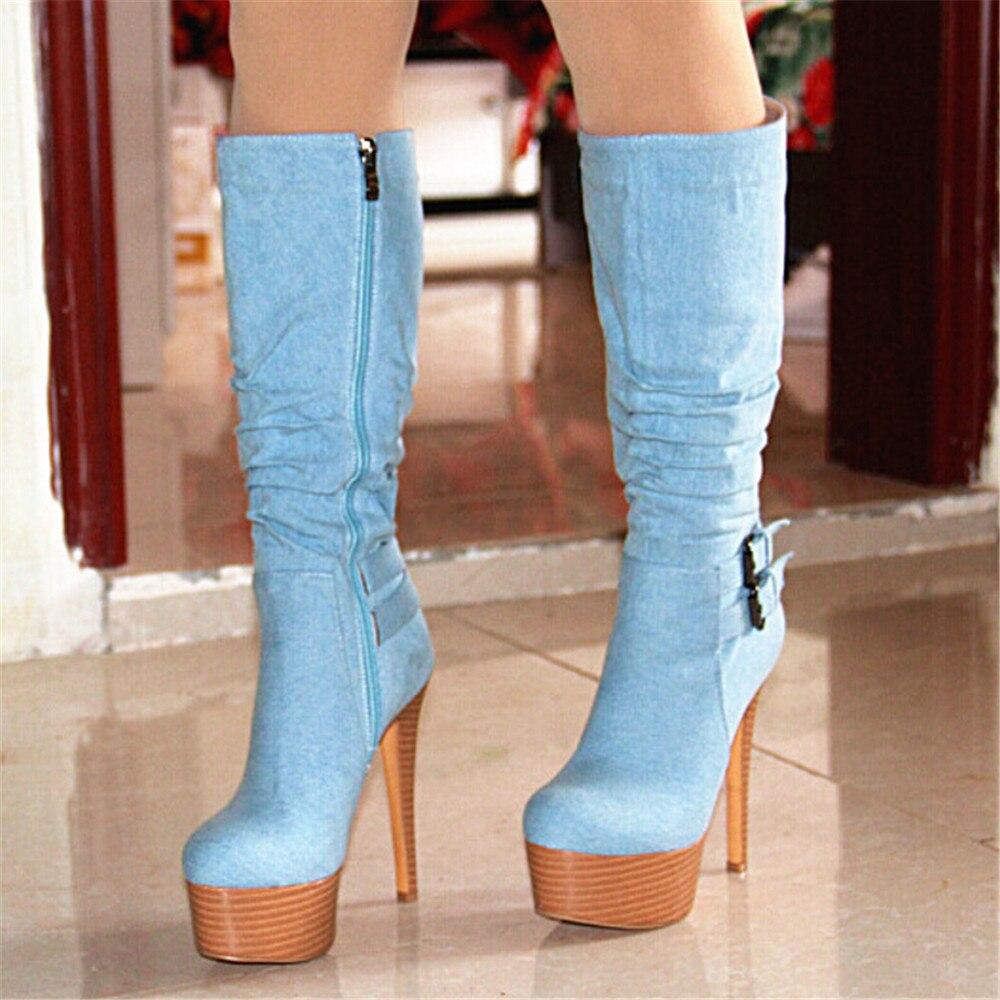 14 5 Zapatos Alta Cm Tacón Botas De Vaquera Tela Plegable Shofoo Alto Claro Gratuito Bo Envío Elegante Elegante Decoración Y Rodilla Azul TqTRwrax