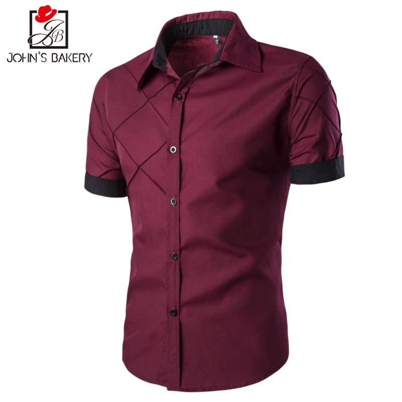 Men Shirt Short Sleeve 2017 Brand Shirts Men Casual Male Slim Fit Lattice Alignment Design Chemise