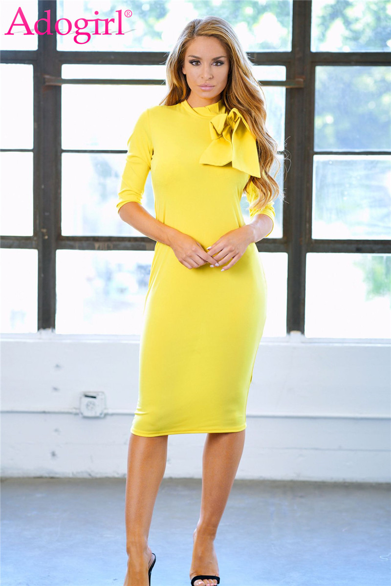 Detail Feedback Questions about Adogirl Solid Yellow Bow Midi Party Dresses  for Women 3 4 Sleeve Pencil Ladies Office Dress Elegant Business Work Wear  ... c67ff3005604