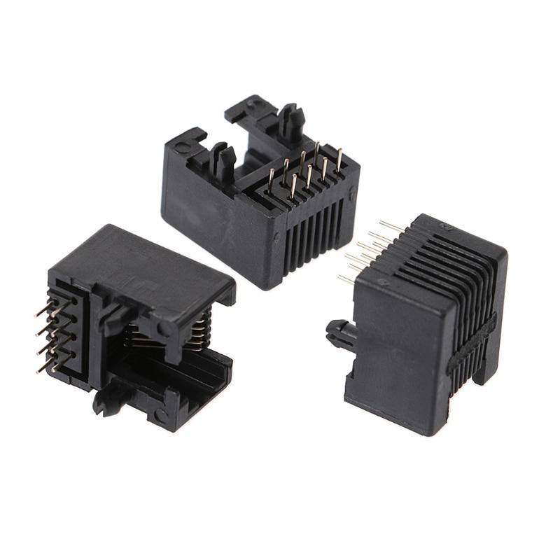 20 Pcs RJ45 8P8C Computer Internet Network PCB Jack Socket Black