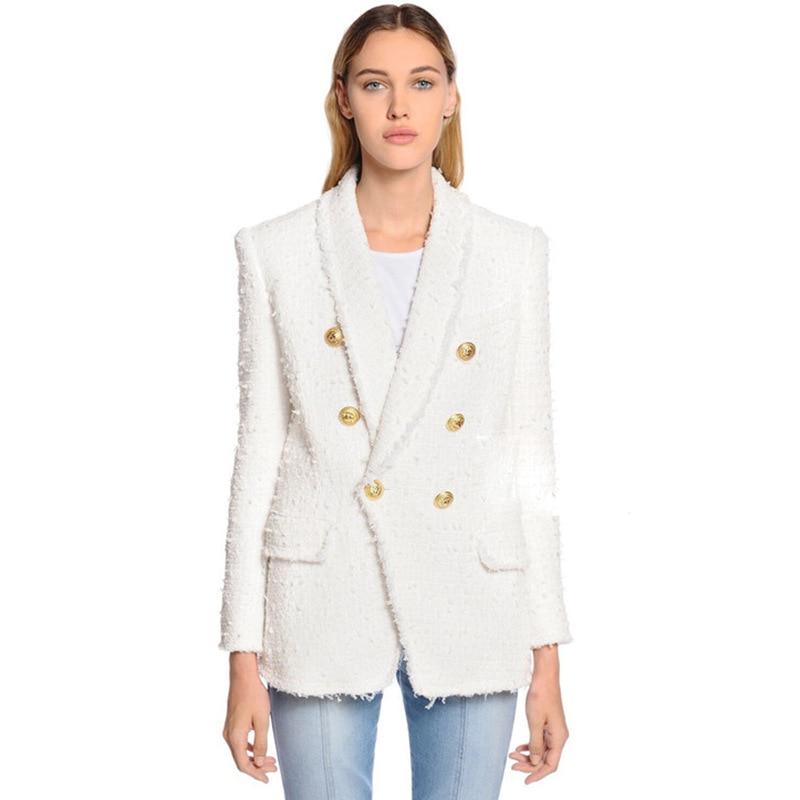 2019 Autumn/Winter New Coat Metal Lion Head Buckle Double Breasted Woolen Whiskers Green Fruit Collar Suit Jackets Coat Women