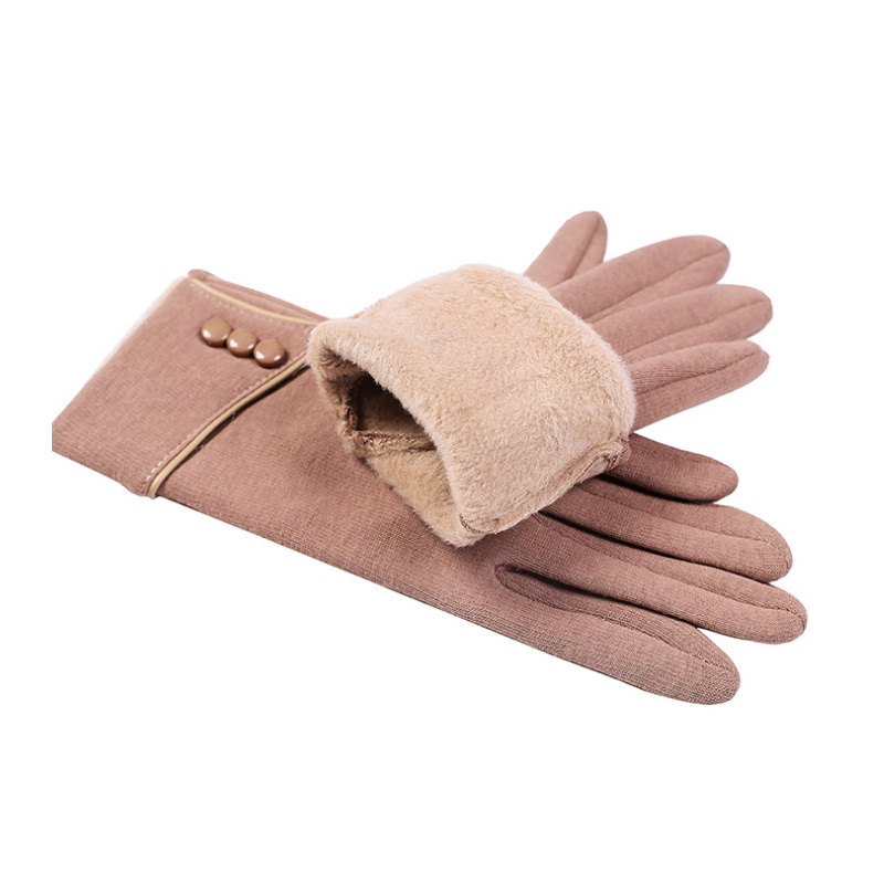 1 Pair Women Winter Touchscreen Gloves Warm Lined Thick Button Decor Minimalist FDC99