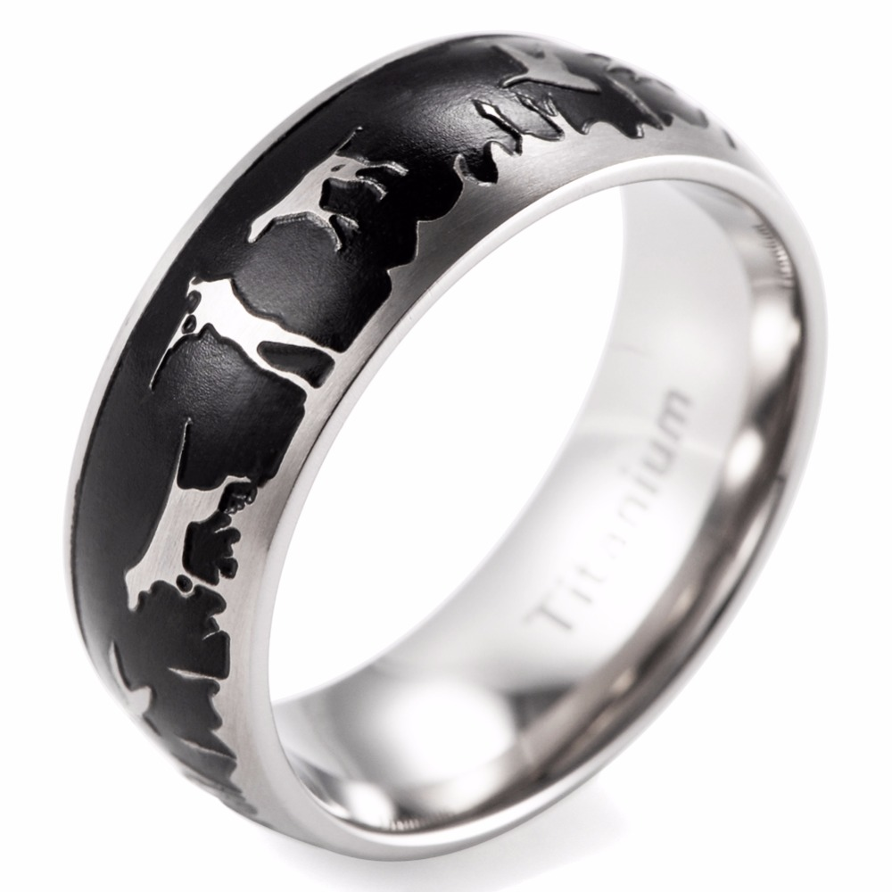 Shardon 8mm Men's Domed Titanium Black Duck Hunt Ring Outdoor Wedding Band  Hunter Wedding Band(
