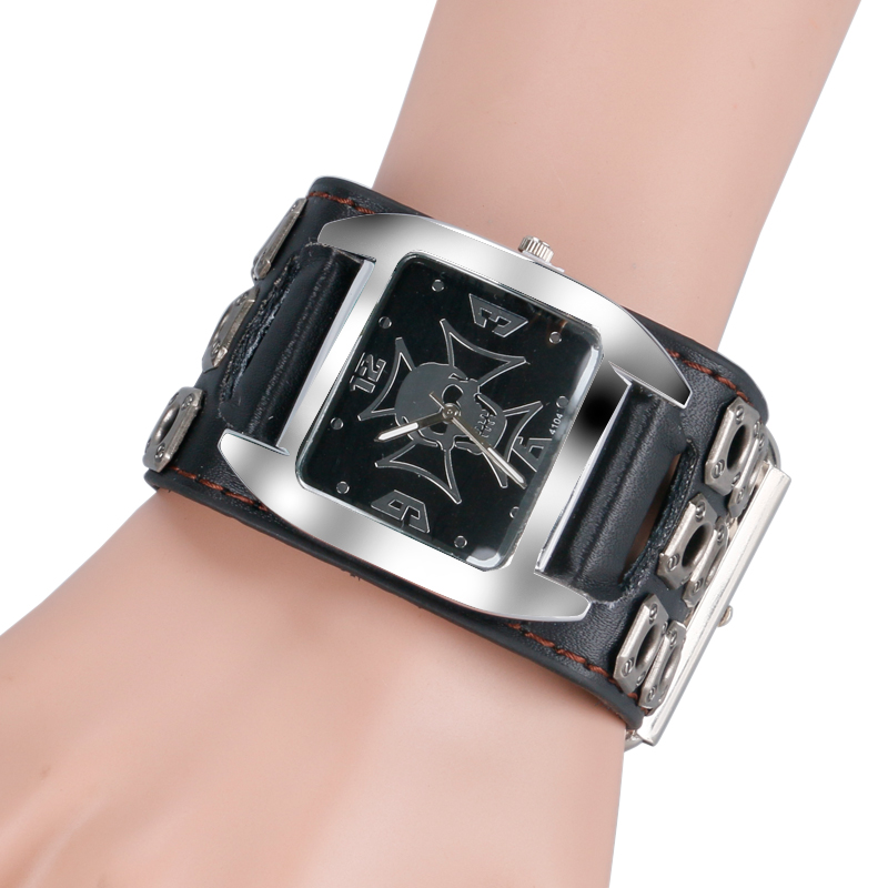Hollow Leather Band Strap Gift Accessories Rock Gothic Style Analog Men Quartz Wrist Watch Skull New