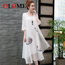 Women over size dresses Female Skirts Girls vintage large loose embroidery two-piece seven-point sleeve Clothing 298
