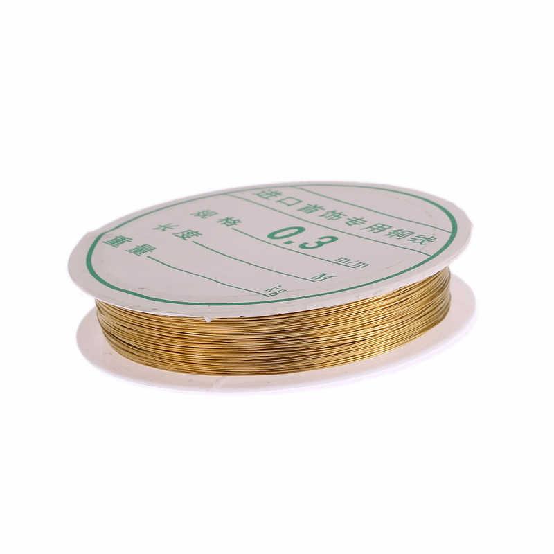 10 metros/rollo 0,3mm cuerda de hilo de metal cuerda artesanía alambre cuentas ajuste joyería DIY rojo oro de plata de colores