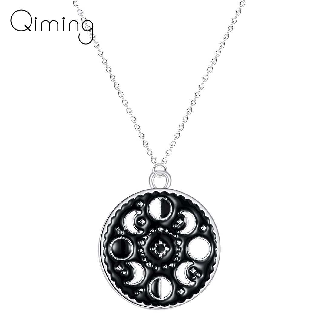 Lunar Cycle Moon Phase Pendant Necklace Round Galaxy Necklace For Women Men Jewelry Stainless Steel Black Necklace