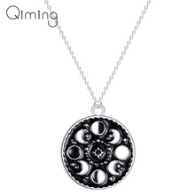 Lunar Cycle Moon Phase Pendant Necklace Round Galaxy Necklace For Women Men Jewelry Stainless Steel Black Necklace(China)