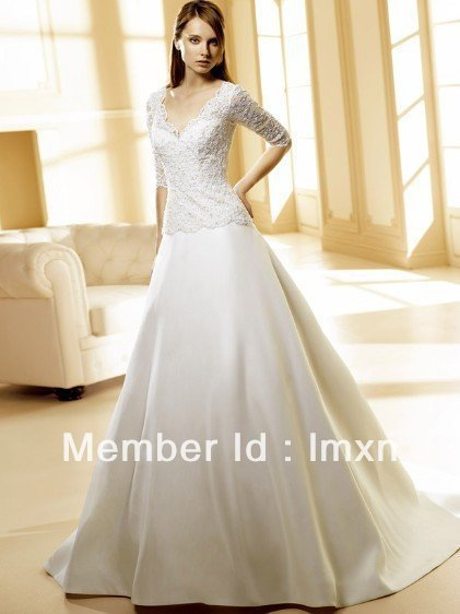 2010 wholesales free shipping A-line white lace jacket satin wedding gown