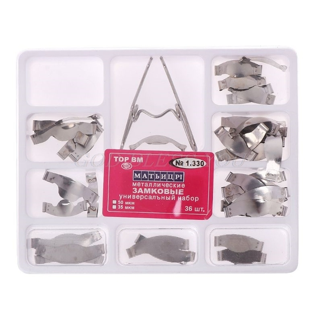 36 piezas Dental Silla de Metal Matrices matriz Universal Kit con Clip de resorte para blanquear los dientes herramienta