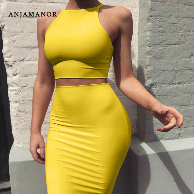 ANJAMANOR Crop Top And Skirt Two Pieces Dress Set Yellow Club Summer Outfit Sexy Clothes For Women Matching Sets D53-AZ17