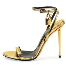 Hot Selling Women Sexy Gold Silver Black Padlock Sandals Thin Metal Stiletto Heel Dress Shoes Decoration High Heels Pumps