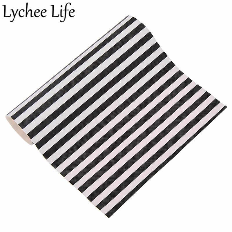 Lychee Life w paski z nadrukiem tkanina ze sztucznej skóry PU A4 21X15 cm tkaniny DIY nowoczesny dom materiał na strój tkaniny do szycia akcesoria