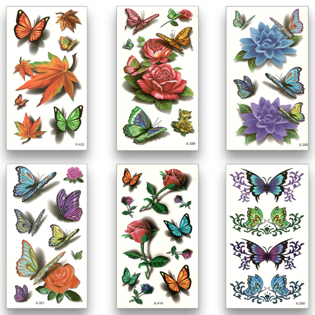 12 Styles Temporary Fake Tattoo Waterproof Water Transfer Rose Flower butterfly Dandelion hamburger Stickers Beauty Body Art