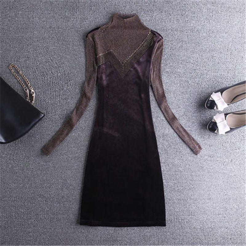2019 nouvelle chemise en dentelle femmes automne hiver robe à manches longues section longue Plus velours épaissir or velours robe X338