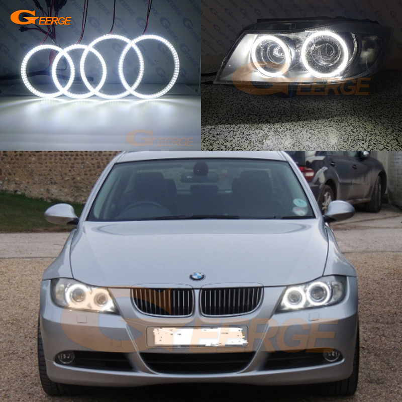 For BMW 3 Series E90 E91 2005 2006 2007 2008 Xenon headlight Excellent Ultra bright illumination smd led Angel Eyes kit DRL for bmw e46 cabrio coupe 325ci 330ci 2004 2005 2006 facelift excellent ultra bright illumination smd led angel eyes kit drl