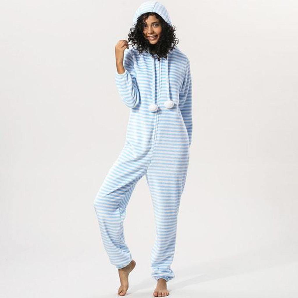 Long Ladies Tracksuit Light Blue Striped Womens Stripe Hooded Flannel Long Sleeve Onesies Tracksui #G25