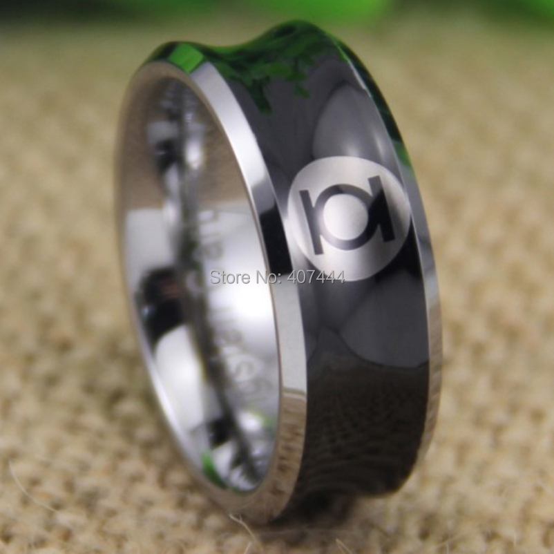 Free Shipping YGK JEWELRY Hot Sales 8MM Black Silver Edges Concave GREEN LANTERN New Mens Tungsten Wedding Ring