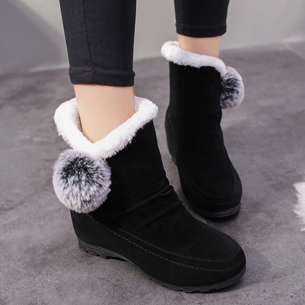 Gamuza Calidad Zapatos Mantener Bola Redonda Punta Mujeres Cuñas Botas Negro gris rojo Caliente Nueva Pelos De Muqgew on Nieve Slip xqPYIwBnO