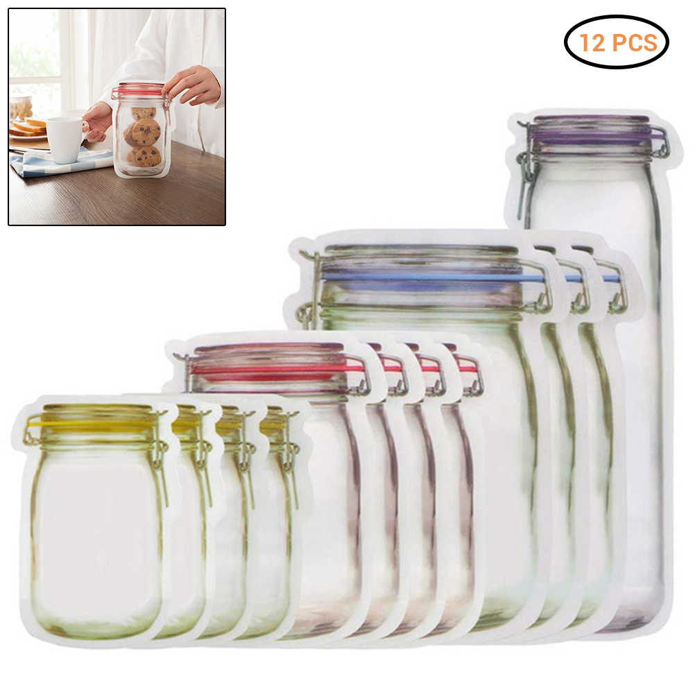 12 Pieces Mason Jar Zipper Bags Reusable Snack Saver Bag Leakproof Food Sandwich Storage Bags For Travel Kids Leakproof Food