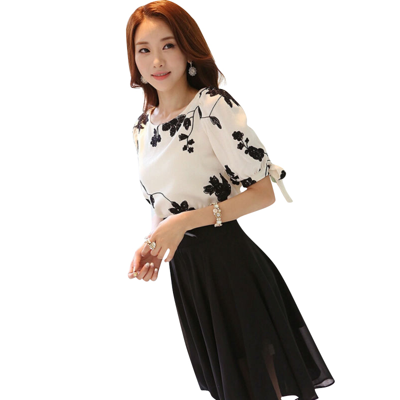 Women Shirt Autumn Tops Black White Floral Embroidered Chiffon
