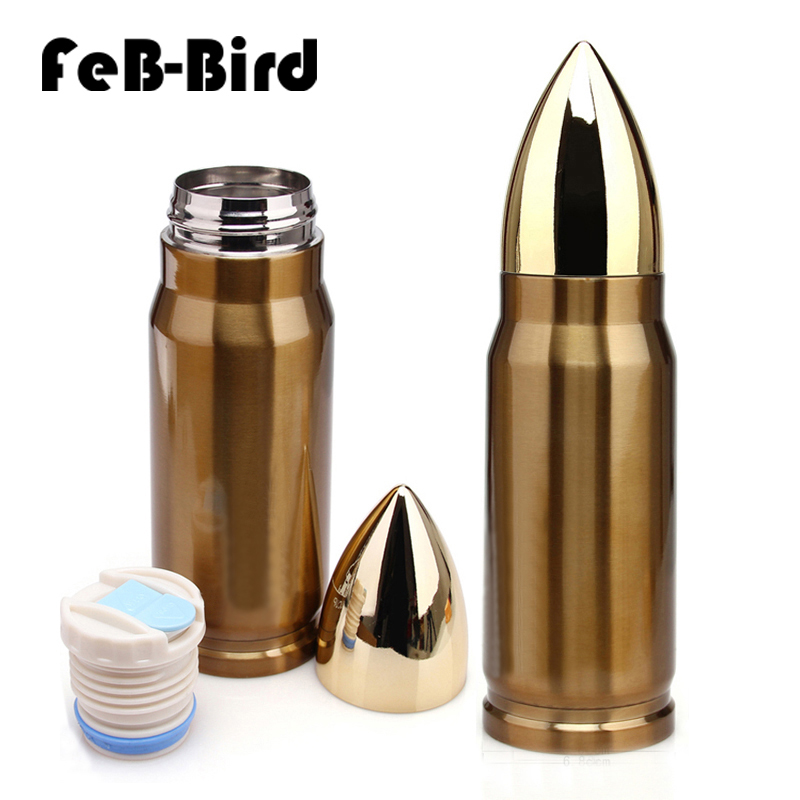 350ml New Hot Sale Bullet Shape Drinking Bottle For Water Creative Design Vacuum Flask Made Of Stainless Steel in Water Bottles from Home Garden