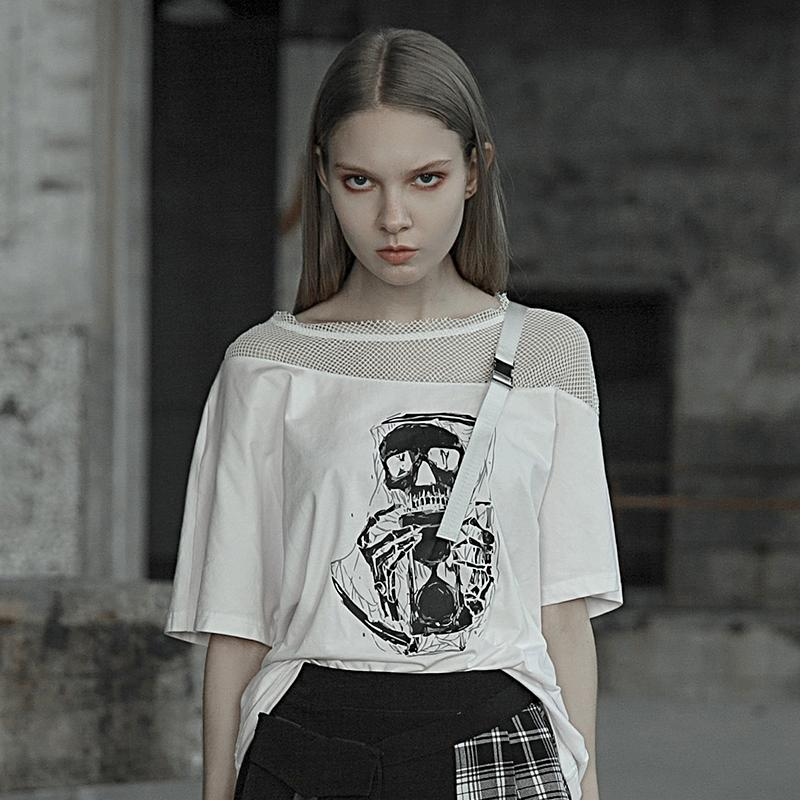 Punk Rave Women Fashion T shirt Skull Printed Decration Hollow Out Sexy Personality Streetwear T Shirt