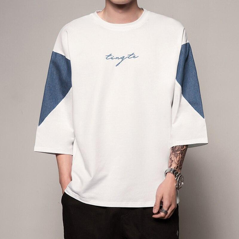 Japon Style Hommes T-Shirt Mosaïque Demi Manches Chauve-Souris Coton hauts amples et Tés 2019 Nouveau T-Shirt Hip Hop Streetwear décontracté Tshirt Homme