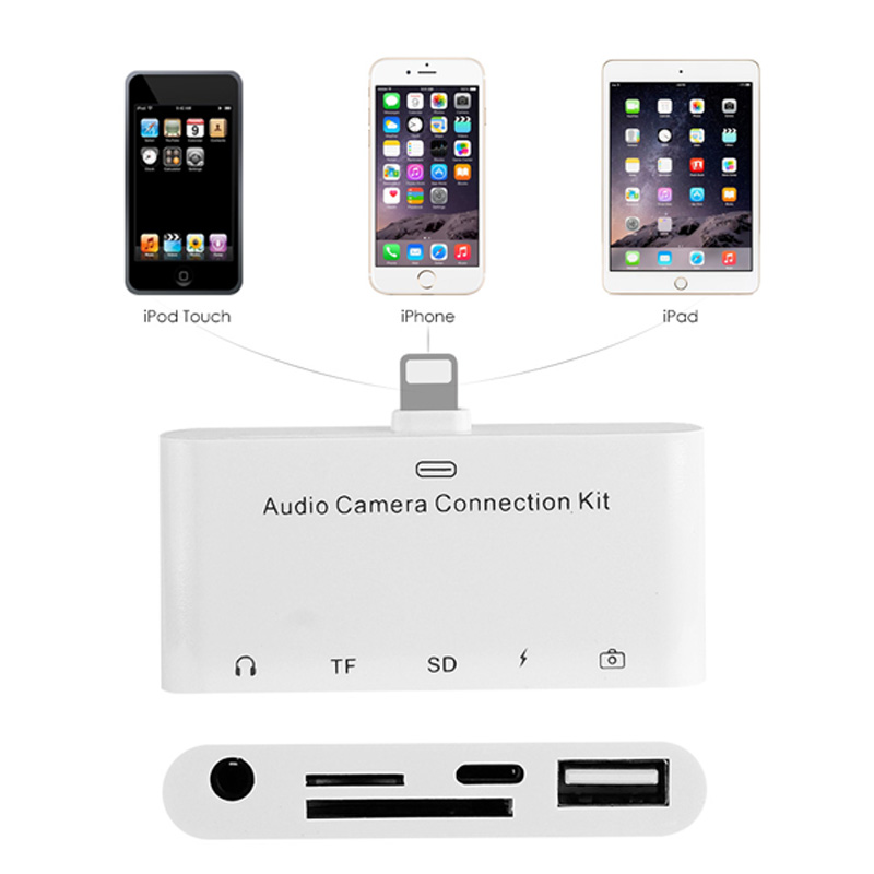 For iPhone 5 6 6s 7 8 ipad Series lightning Audio Camera Connection Kit 5 in 1 to audio adapter lightning camera reader adapter