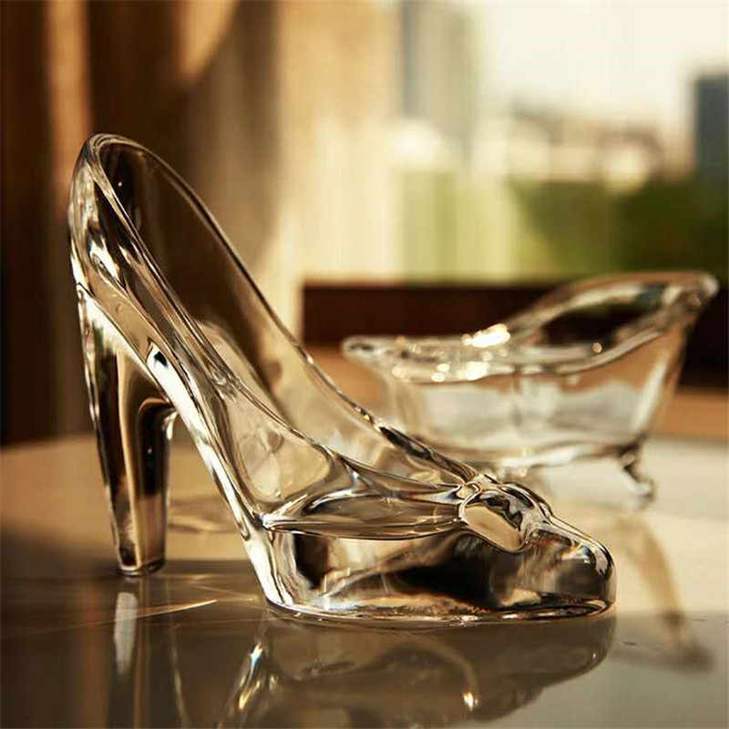 Crystal Shoes Glass Slipper Birthday Gift Home Decor Cinderella High-heeled Shoes Wedding Shoes Figurines Miniatures Ornament