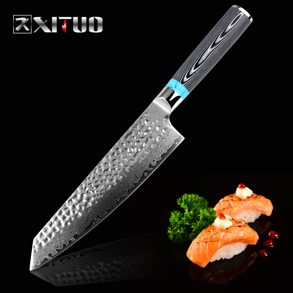 XITUO Highquality Damascus Knife 8 inch VG10 Blade Steel 67 Layers Japanese Chef Santoku Cleaver Meat knife Gift
