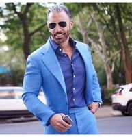 2018 Tailored Light Blue Suit Men Groom Tuxedo Slim Fit 2 Piece Blazer Prom Wedding Suits For Men Terno Masculino Jacket+Pant